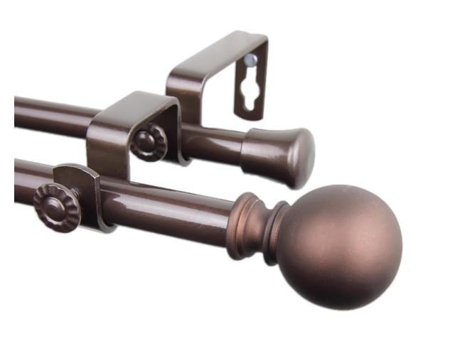 Rod Desyne Home Window Decorative Luna Double Curtain Rod 48-84 inch - Cocoa