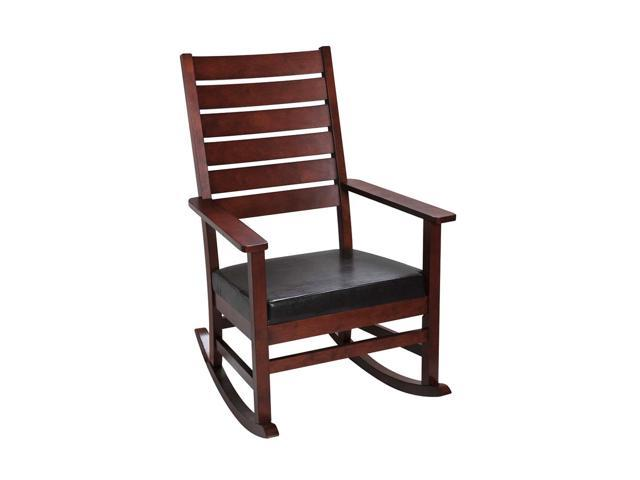Gift mark 4000c mission style adult rocking chair with upholstered seat cherry color - Automatic rocking chair for adults ...