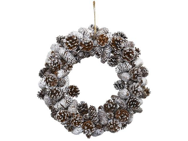 Nearly Natural Home Garden Decorative Snowy Pine Cone Wreath