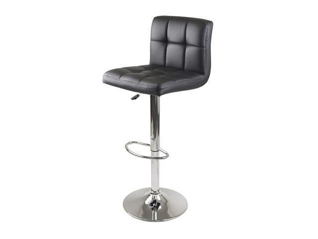 Winsome Stockholm Air Lift Stool Swivel Square Grid Faux Leather Seat Black