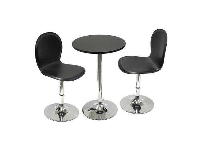 "Winsome Spectrum 3pc Set, 20"" Round Table with 2 Swivel Faux Leather Chairs"