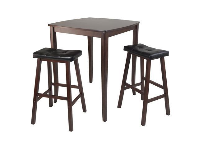 Winsome 3pc Inglewood High/Pub Dining Table with Cushioned Saddle Stool
