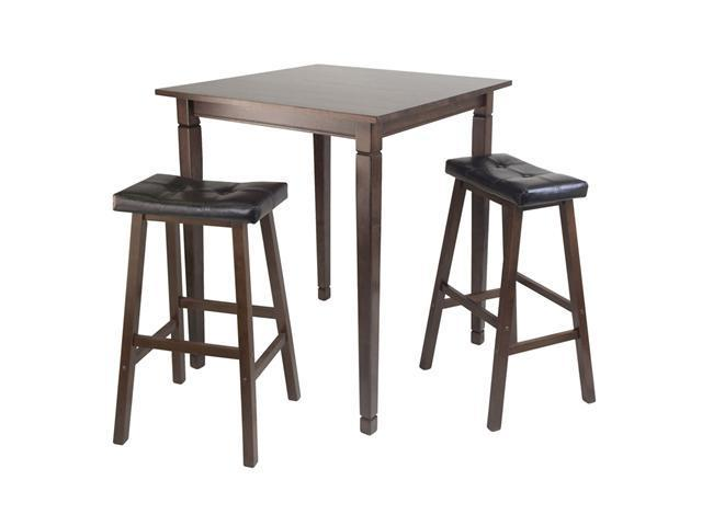 Winsome 3pc Kingsgate High/Pub Dining Table with Cushioned Saddle Stool