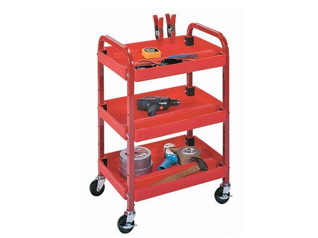Luxor Multipurpose Mobile Three Shelf Adjustable Tuffy Storage Utility AV Metal Rolling Cart