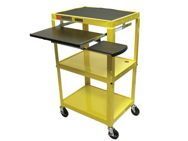 Luxor AVJ42KB Adjustable Height Steel Cart With Pullout Keyboard Tray Yellow