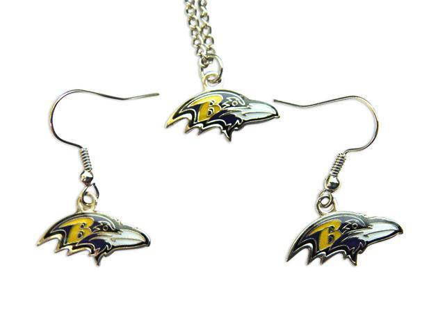Baltimore Ravens NFL Necklace and Dangle Earring Charm Set
