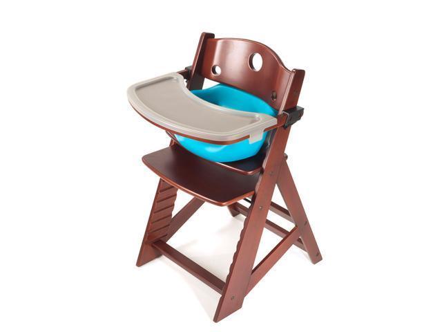 Keekaroo Height Right High Chair with Infant Insert & Tray - Mahagany/Aqua