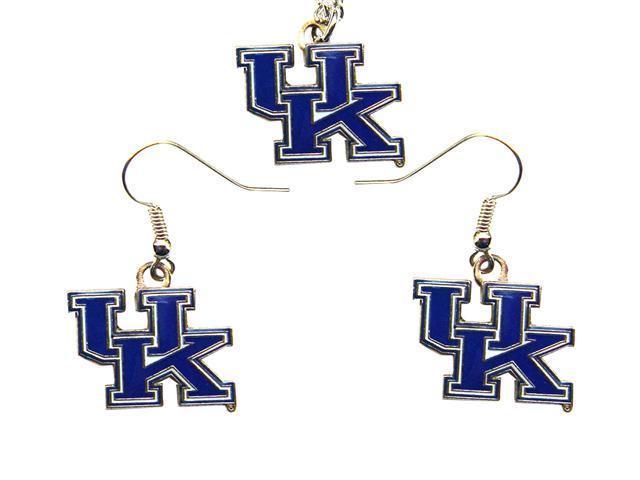 Kentucky Wildcats Necklace And French Hook Style Charm Dangle Hoop Earring Set