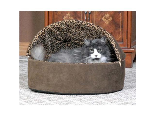 K&H Pet Products Thermo-Kitty Bed Deluxe Hooded Small Mocha Leopard 16