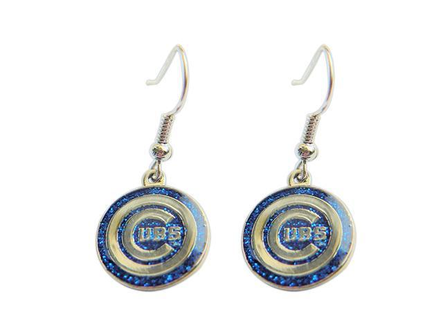 Chicago Cubs Glitter Sparkle Dangle Logo Earring Set Charm Gift