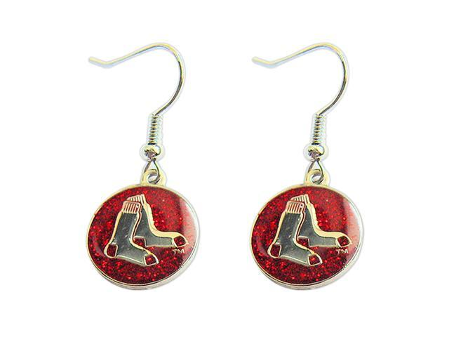 Boston Red Sox Glitter Sparkle Dangle Logo Earring Set Charm Gift