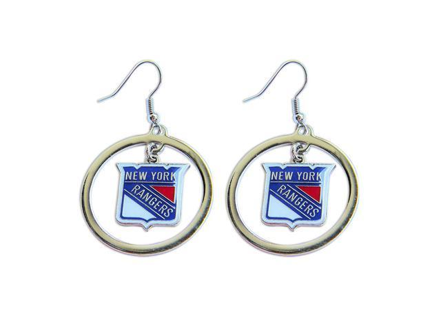 New York Rangers Hoop Logo Earring Set Nhl Charm Gift