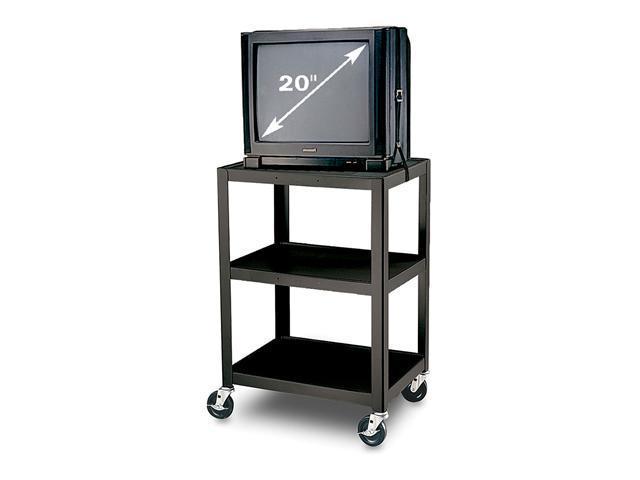 H.Wilson W34E 3 Shelves Fixed Height Steel AV Cart Black
