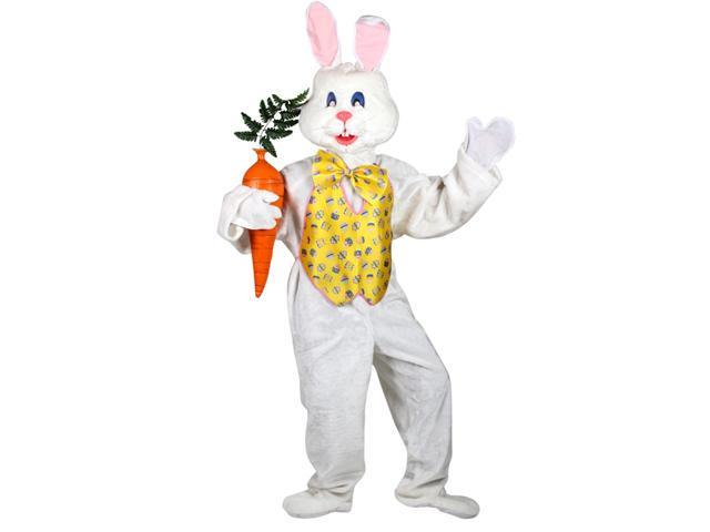 White Adult Easter Bunny Mascot w Yellow Vest Costume