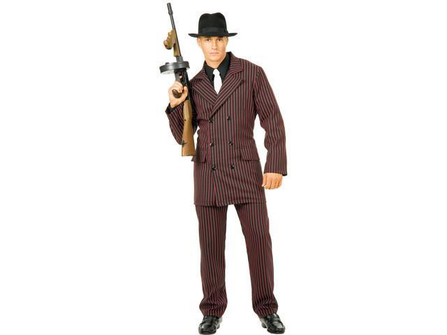 Gangster Double Breasted Suit (Black/Red) Adult Costume - X-Large