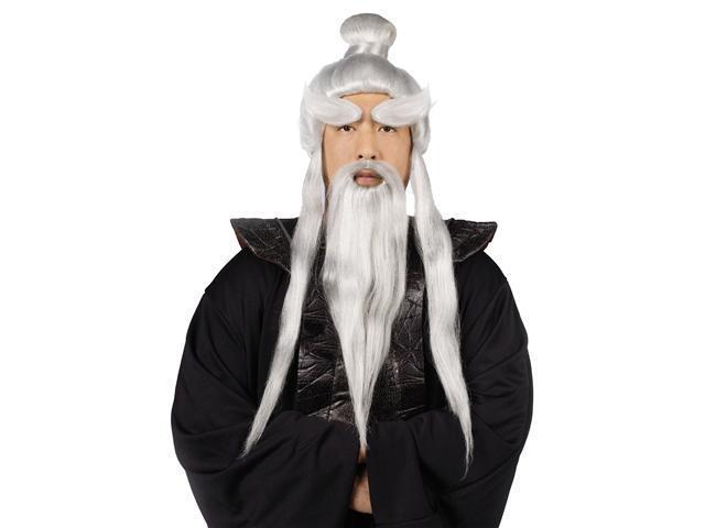 Silver Sensei Wig and Beard Set for Men