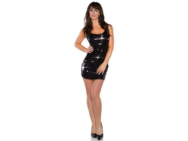 Black Shimmer Short Sequin Dress Adult Costume Large