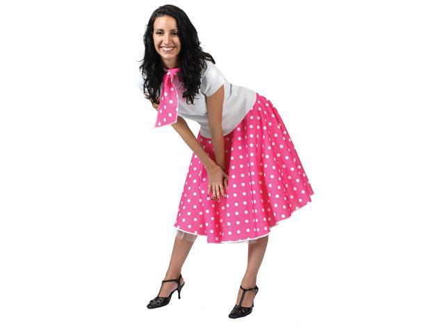 Pink and White Sock Hop Skirt Costume - 50s Costumes