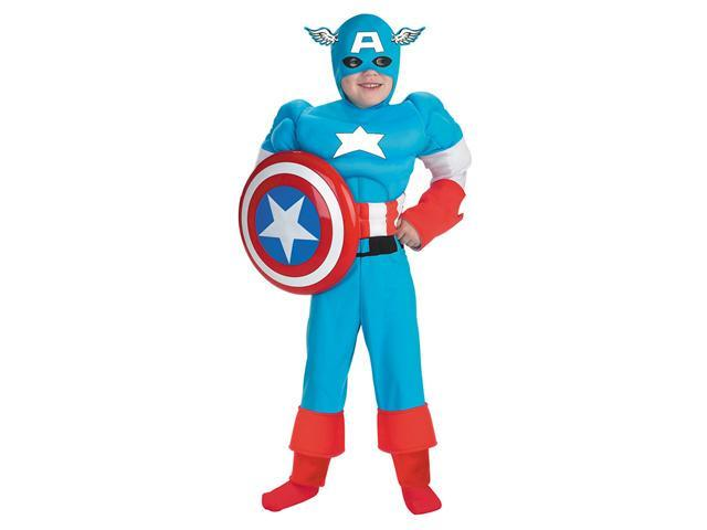 Deluxe Kids Muscle Captain America Costume - Authentic Captain America Costumes