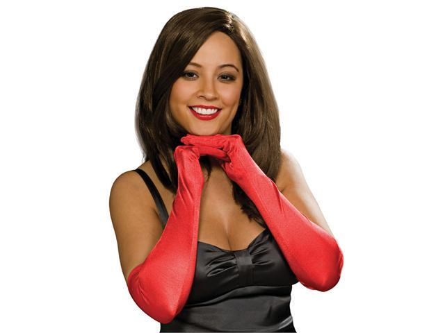 Adult Red Satin Lycra Opera Gloves - Costumes Gloves