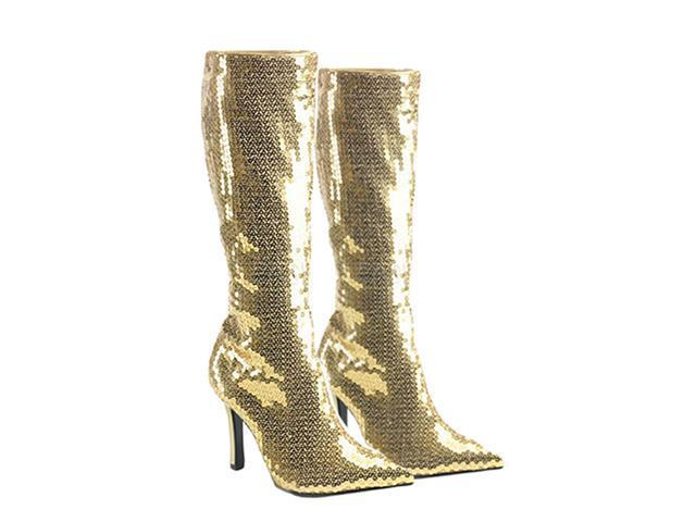Gold Sequin Boots - Costume Boots
