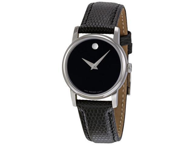 Movado Museum Black Dial Black Leather Strap Ladies Watch 2100004