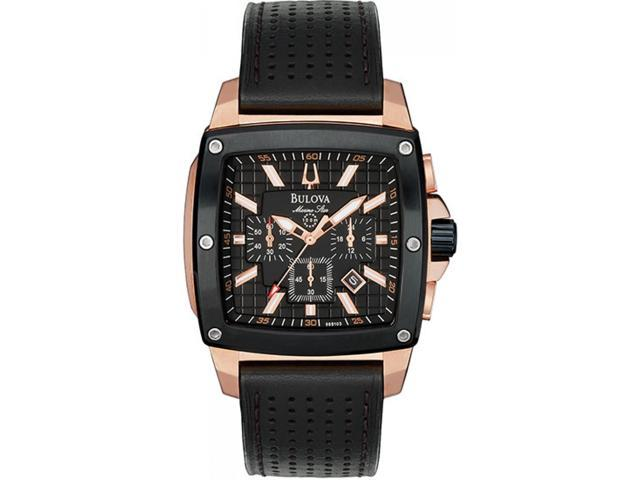 Bulova Marine Star 98B103 Men's Black Dial Leather Chronograph Watch