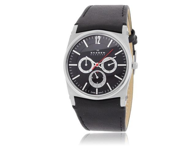 Skagen 759LSLB1 Men's Black Dial With Black Leather Band Watch