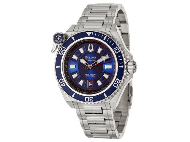 Bulova 98B168 Stainless Steel Case and Bracelet Precisionist Blue Dial Ratchet Bezel with Lock