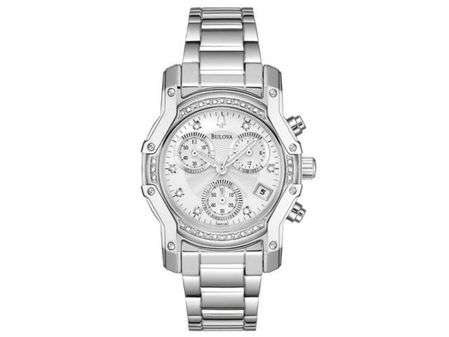 Bulova Diamond Collection Polished Bracelet Silver Dial Women's watch #96R138