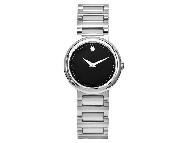 Movado Concerto 0606419 Women's Stainless Steel Quartz Analog Watch - Silver Band with Black Dial