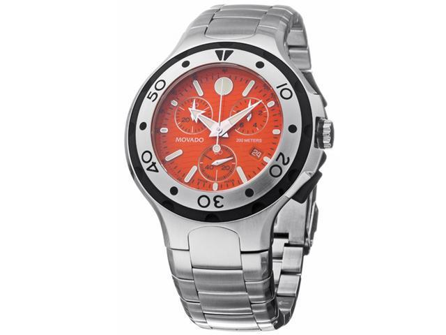 Movado 2600041 Series 800 Orange Dial Stainless Steel Chronograph Men's Watch
