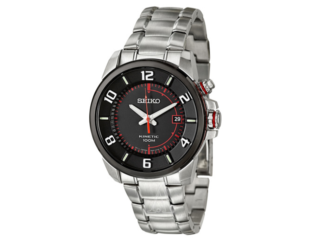 Seiko SKA553 Men's Black Dial Stainless Steel Kinetic Analog Watch