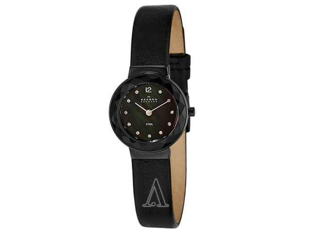 Skagen Ultra Slim Black Dial Swarovski Crystal Ladies Watch 456SBLB