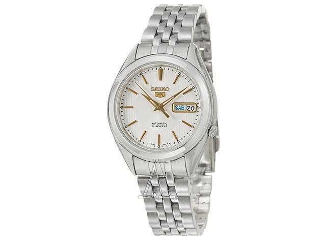 Seiko 5 Silver Dial Stainless Steel Mens Watch SNKL17
