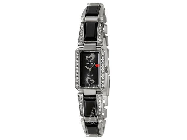 Seiko SUP187 Tressia Solar Black Ceramic and Stainless Steel Bracelet Swarovski Elements Heart Logo