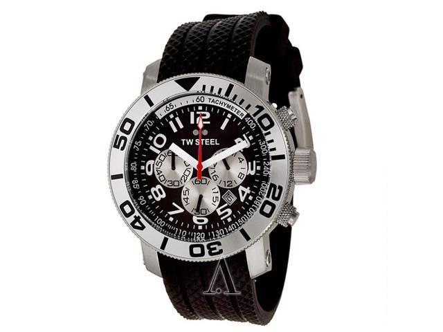 TW Steel Grandeur Diver 45 MM Black Dial Black Rubber Strap Mens Watch TW72