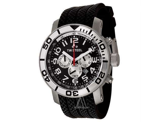 TW Steel Grandeur Diver 48 MM Black Dial Black Rubber Strap Mens Watch TW73
