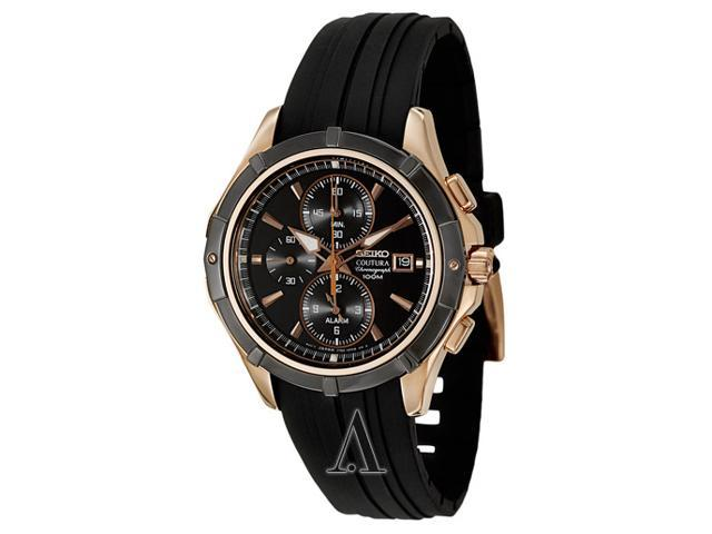Seiko SNAF14 Coutura Rose Gold Stainless Steel Case Alarm Chronograph Black Dial Rubber Strap