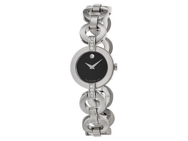 Movado Women's Bela Moda Stainless Steel Diamond Bracelet Watch 0606263