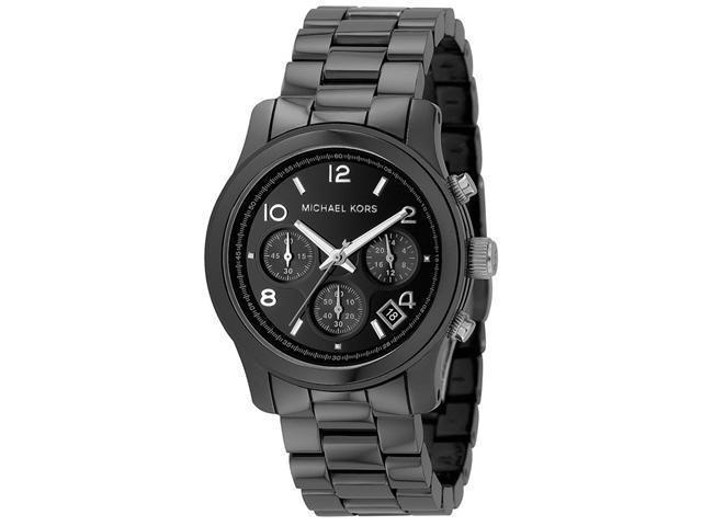 Michael Kors Black Dial Black Ceramic Bracelet Chronograph Midsized Watch MK5162