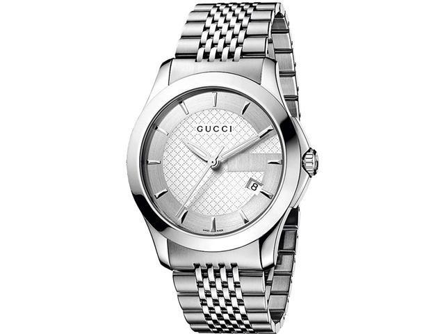 Gucci G Timeless Mens Stainless Steel Bracelet Watch YA126401