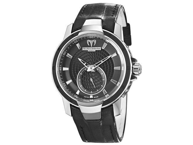 Technomarine UF6 Black Dial Black Leather Strap Ladies Watch 609021