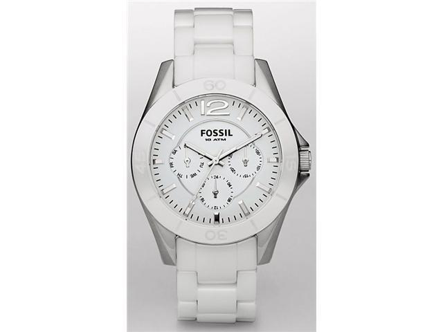 Fossil White Ceramic White Dial Ladies Watch CE1002
