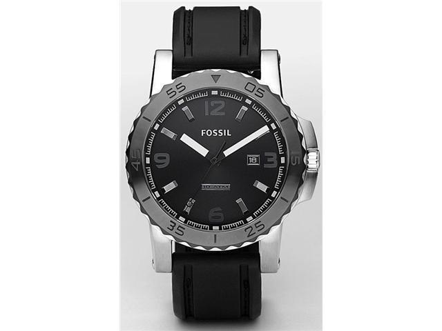 Fossil Men's Black Dial Black Silicon