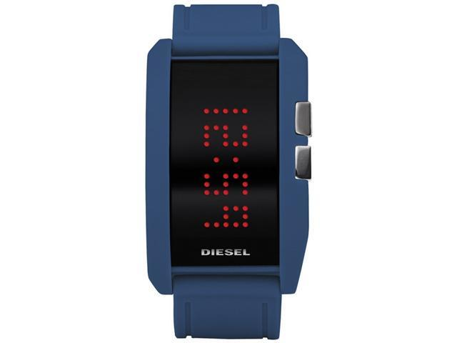Diesel Blue Silicone Futuristic Retro   LED Mens Watch DZ7166