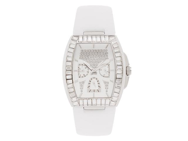Guess White Leather Strap Ladies Watch U15025L2