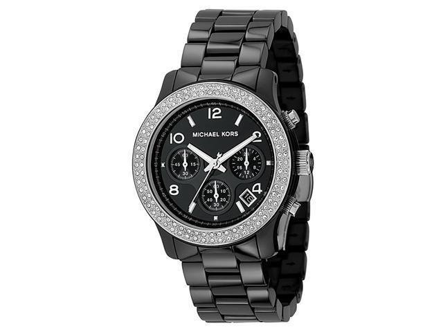 Michael Kors Women's Chronograph White Crystal Black Ceramic