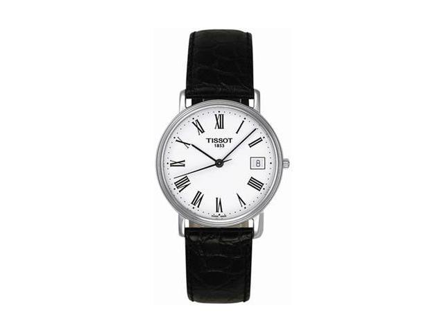 Tissot T-Classic Desire White Dial Black Leather Mens Watch T52142113