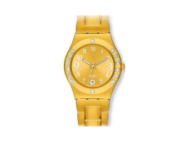 Swatch Women's Irony White Crystal Gold Tone Ion Plated Stainless Steel